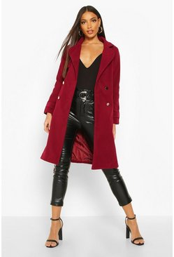 Womens Wine Belted Military Double Breasted Trench Coat