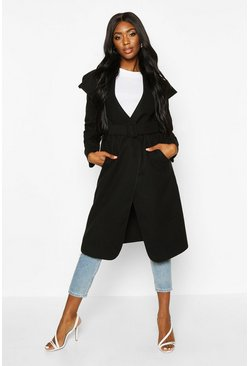 Black Self Fabric Buckle Belted Wool Look Coat