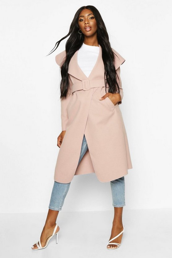 Self Fabric Buckle Belted Wool Look Coat by Boohoo