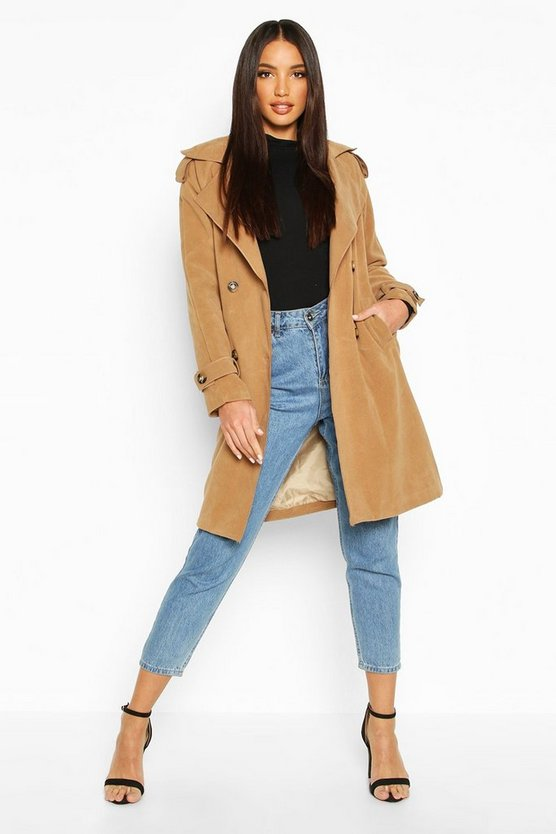 Womens Camel Belted Double Breasted Wool Look Trench Coat