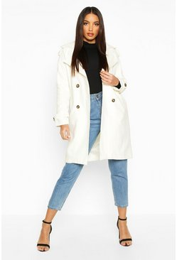 Ivory Belted Double Breasted Wool Look Trench Coat