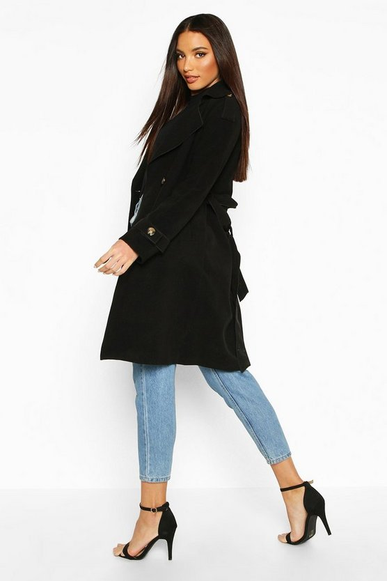Belted Double Breasted Wool Look Trench Coat