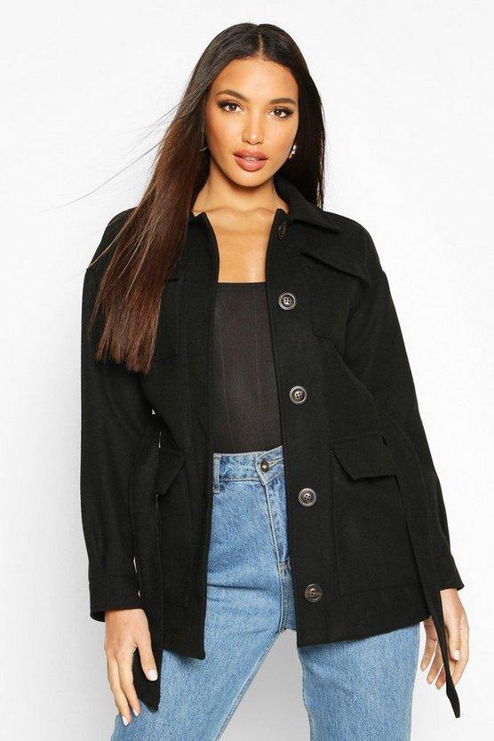 Double Pocket Wool Look Utility Jacket