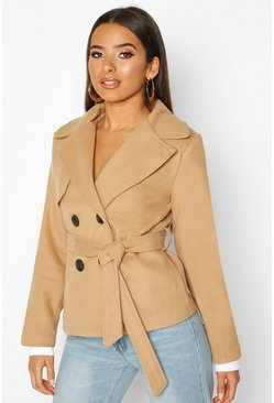 Womens Camel Belted Wool Look Short Trench Coat