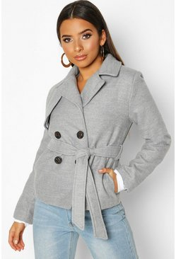 Grey Belted Wool Look Short Trench Coat