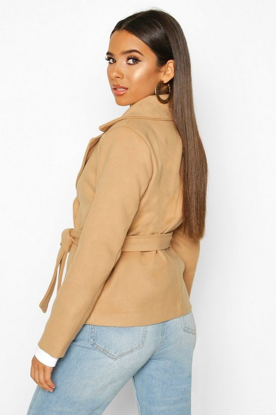 Belted Wool Look Short Trench Coat