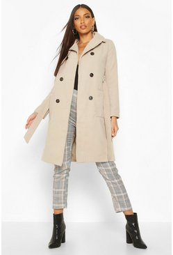 Womens Stone Longline Pocket Detail Wool Look Trench Coat