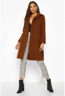 Womens Tobacco Longline Pocket Detail Wool Look Trench Coat