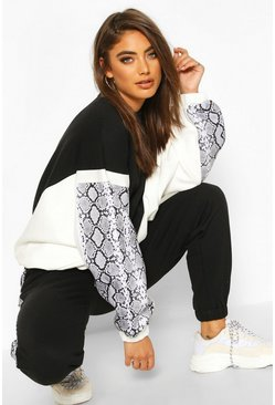 Black Colour Block Snake Print Sweatshirt