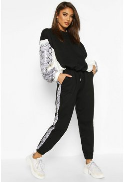 Black Colour Block Snake Print Jogging Bottoms