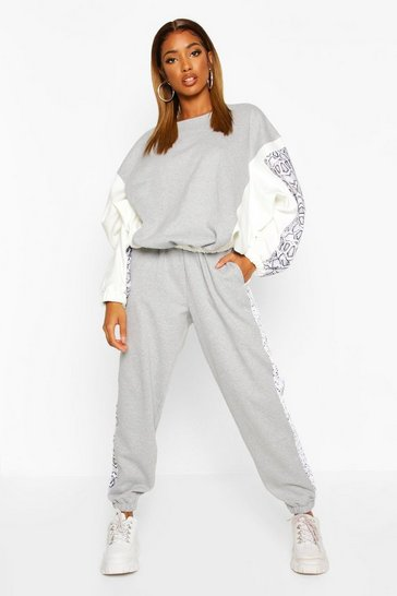 Grey Colour Block Snake Print Jogging Bottoms