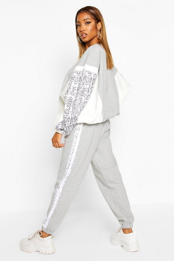 Colour Block Snake Print Jogging Bottoms