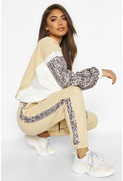 Womens Stone Colour Block Snake Print Jogging Bottoms