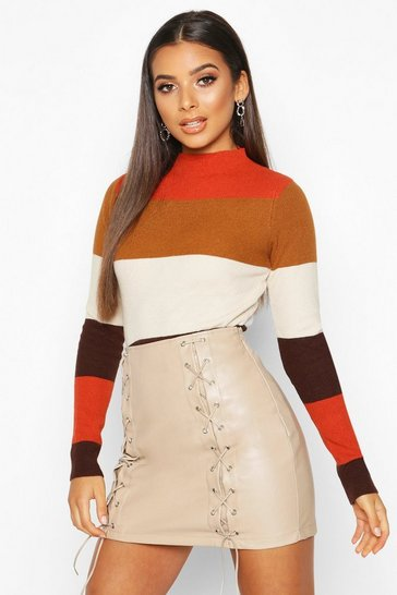 Womens Camel Colourblock Knitted Rib Top