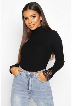 Womens Black Knitted Lace Ruffle Rib Turtle Neck Top