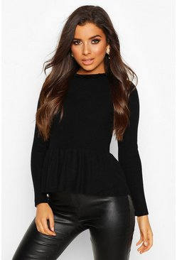 Black Ruffle Neck Peplum Knitted Top