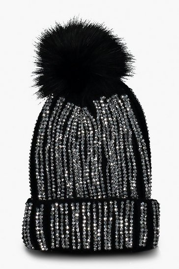 Womens Black Embellished Faux Fur Pom Beanie