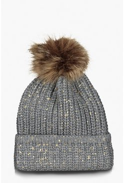 Womens Grey Faux Fur Pom Speckled Beanie