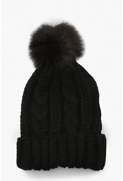 Dam Black Cable Knit Faux Pom Beanie