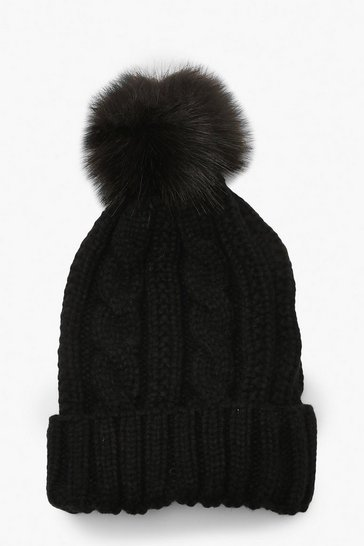 Womens Black Cable Knit Faux Pom Beanie