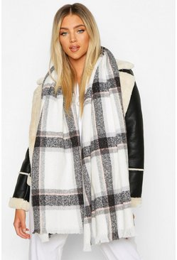 Womens Cream Check Scarf