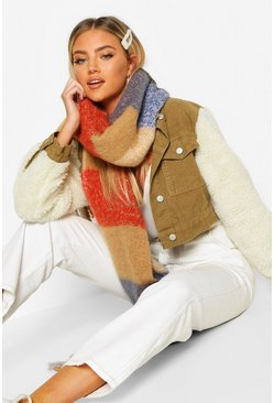 Womens Multi Colourblock Chunky Scarf