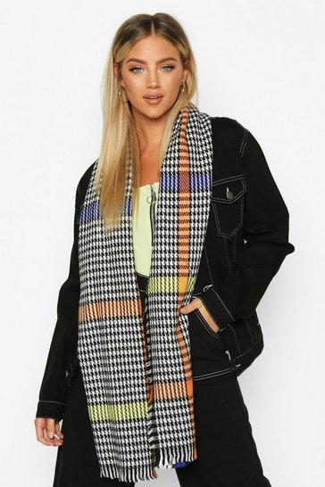 Womens Multi Mini Check Chunky Scarf