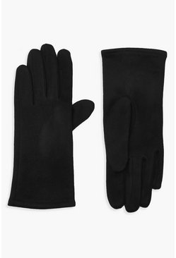Womens Black Faux Suedette Thick Gloves
