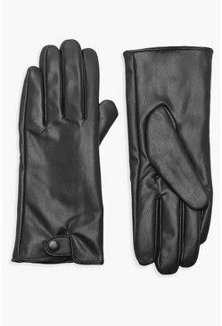 Dam Black PU Popper Gloves
