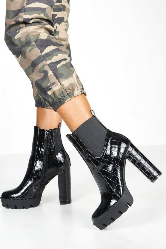 Croc Cleated Platform Chelsea Boots