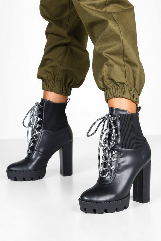 Black Cleated Lace Up Platform Hiker Boots