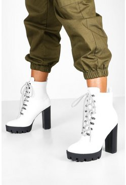 Womens White Cleated Lace Up Platform Hiker Boots