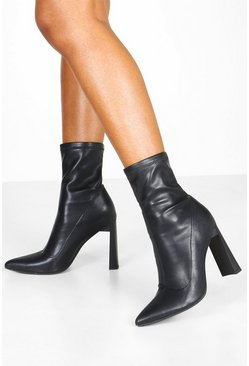 Womens Black Stretch Interest Heel Sock Boots