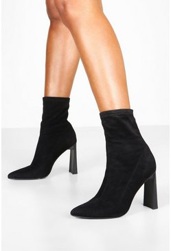 Dam Black Stretch Interest Heel Sock Boots