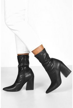 Womens Black Block Heel Stretch Sock Boots