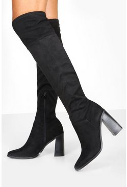 Black Interest Heel Knee Boots