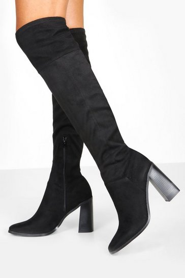 Womens Black Interest Heel Knee Boots