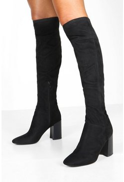 Womens Black Block Heel Pointed Toe Over The Knee Boots