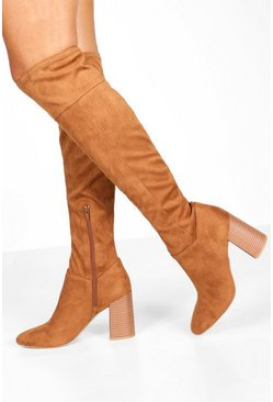 Womens Brown Block Heel Pointed Toe Over The Knee Boots