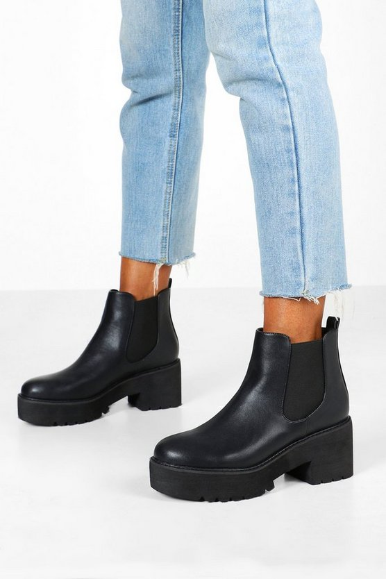 Womens Black Chunky Platform Cleated Chelsea Boots