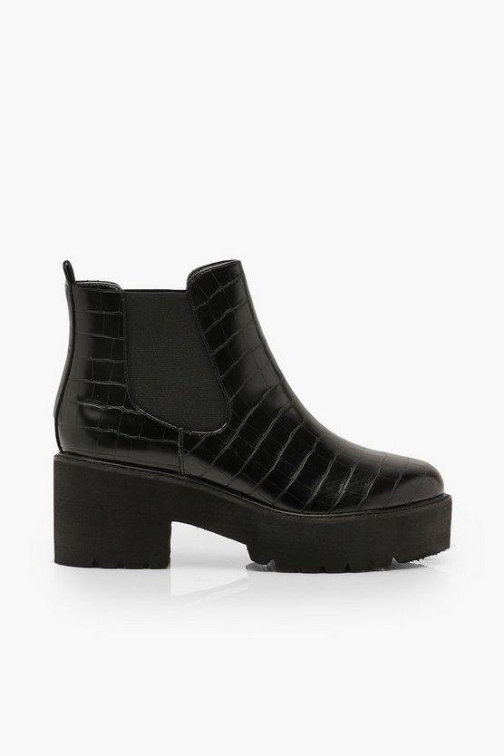 Croc Chunky Platform Chelsea Boots