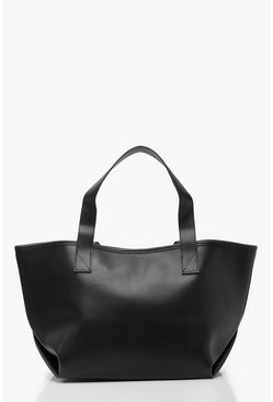 Womens Black Slouchy PU Day Bag