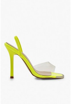 Womens Yellow Clear Slingback Sandals