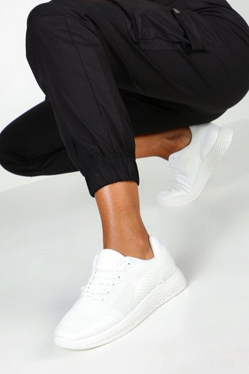 Womens White Knitted Basic Sports Trainers