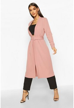 Womens Rose pink Self Belt Midi Kimono