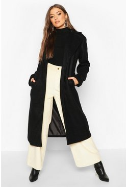 Womens Black Belted Collared Wrap Wool Look Coat