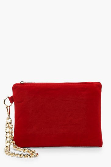 Womens Red Suedette Chain Handle Clutch Bag