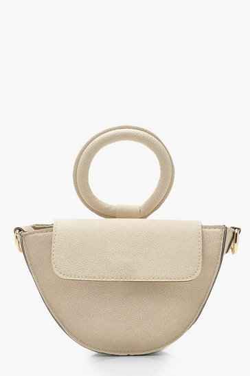 Womens Ivory Ring Handle Grab Bag & Strap