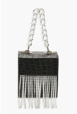 Womens Black Diamante Fringe Box Clutch Bag & Chunky Chain