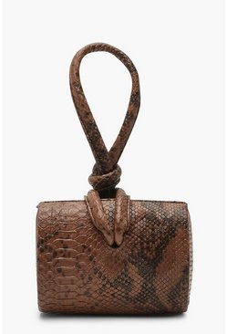 Womens Toffee Snake Mini Knot Handle Clutch Bag